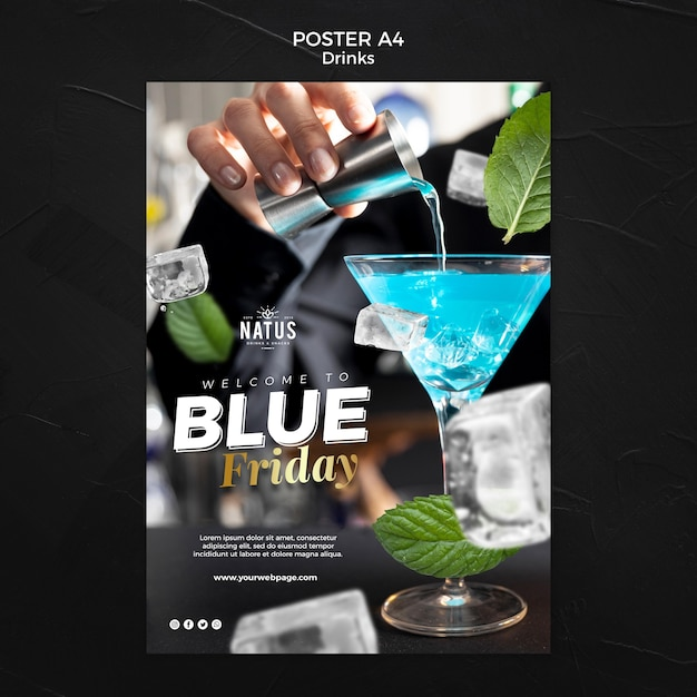 Drinks concept poster template Free Psd