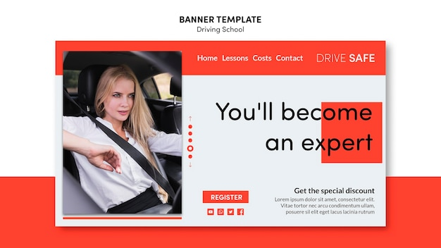 Driving school banner template Free Psd