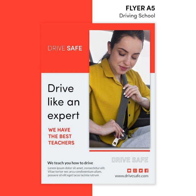 Driving school flyer template Free Psd