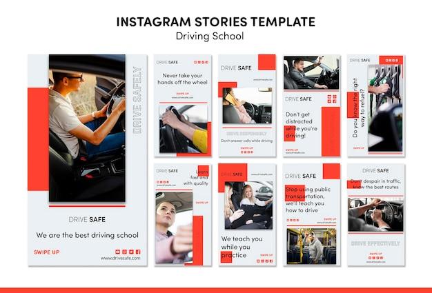 Driving school instagram stories template Premium Psd