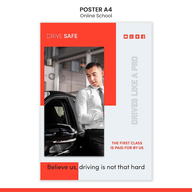 Driving school poster template Free Psd