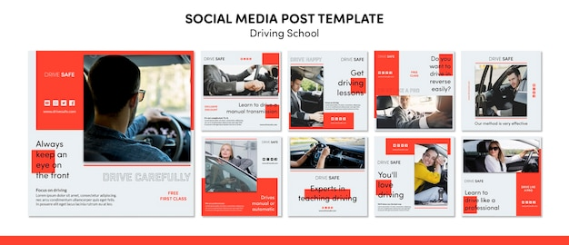 Driving school social media post template Free Psd
