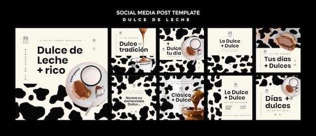 Dulce de leche concept social media post template Free Psd