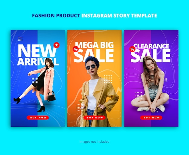 Duo colors instagram story template with marble wave ornament Premium Psd