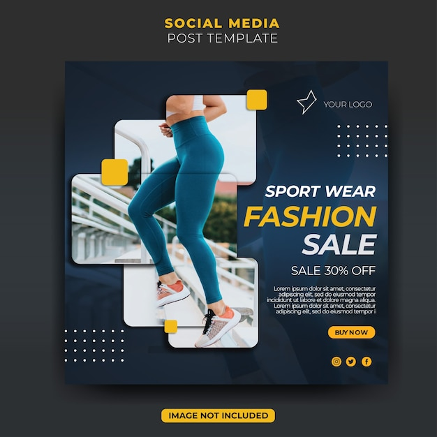 ダイナミックファッションスポーツウェア販売instagramソーシャルメディア投稿フィード Premium Psd