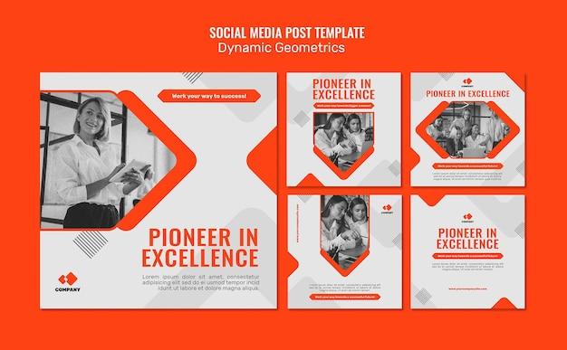 Dynamic geometric social media post template Free Psd
