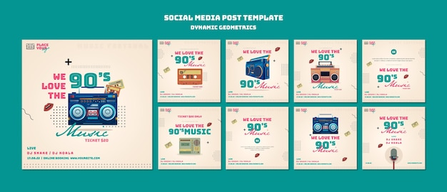 Dynamic geometrics social media post Premium Psd