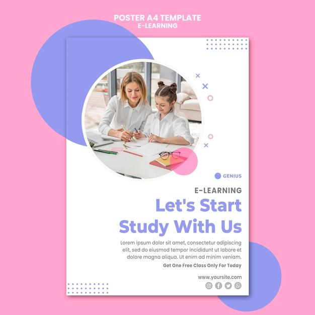 Poster modello di annuncio e-learning Psd Gratuite
