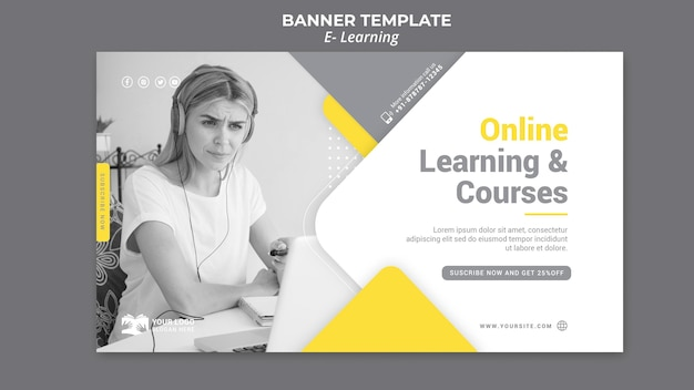 E learning banner template Free Psd