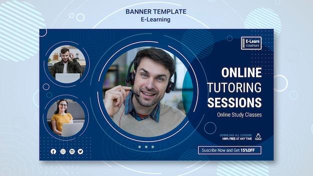 Modello di banner concetto di e-learning Psd Gratuite