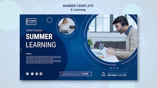 Шаблон баннера концепции электронного обучения Бесплатные Psd