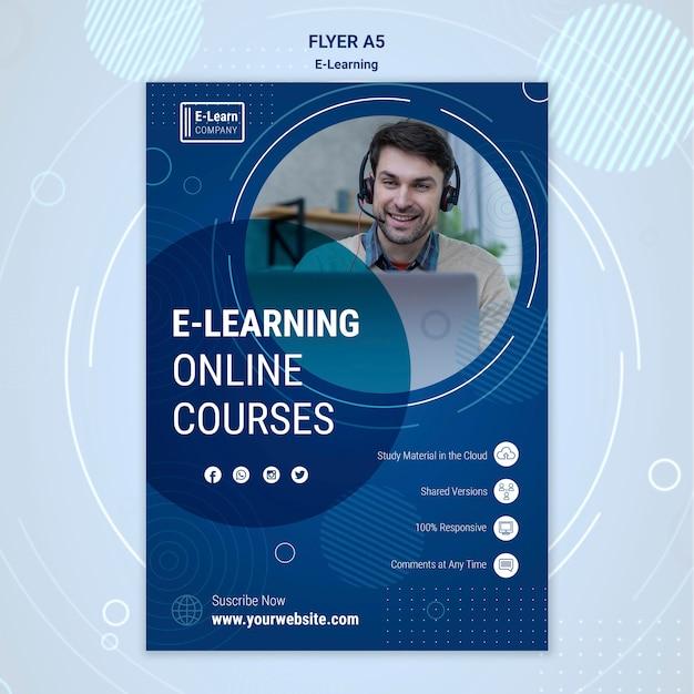 Modello di volantino del concetto di e-learning Psd Gratuite