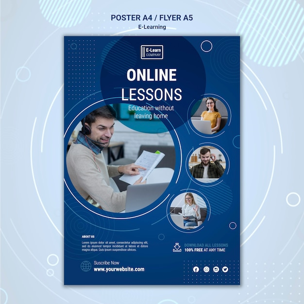 E-learning concept flyer template Free Psd