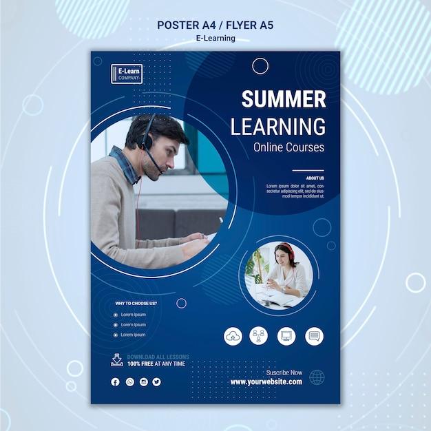 Шаблон флаера концепции электронного обучения Бесплатные Psd