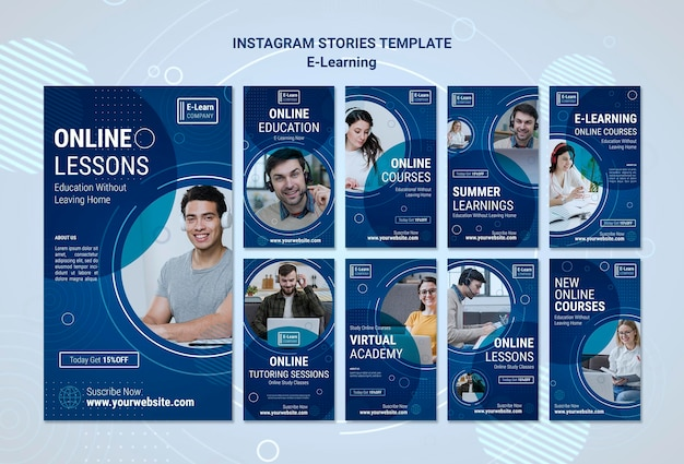 E-learning concept instagram stories template Premium Psd