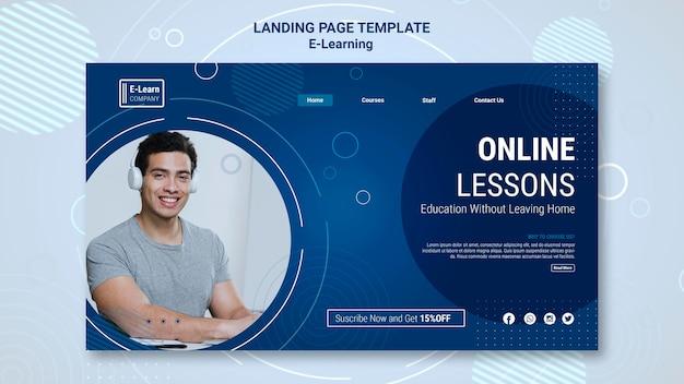 Modello di pagina di destinazione del concetto di e-learning Psd Gratuite