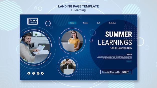 Шаблон целевой страницы концепции электронного обучения Бесплатные Psd