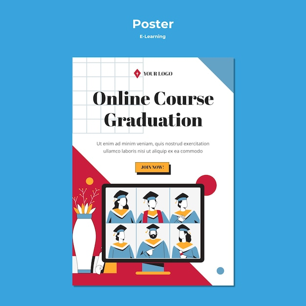 E-learning concept online graduation Free Psd