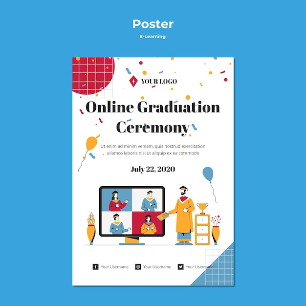 E-learning concept poster design Free Psd