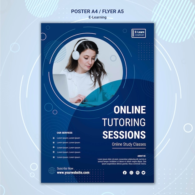 E-learning concept poster template Free Psd