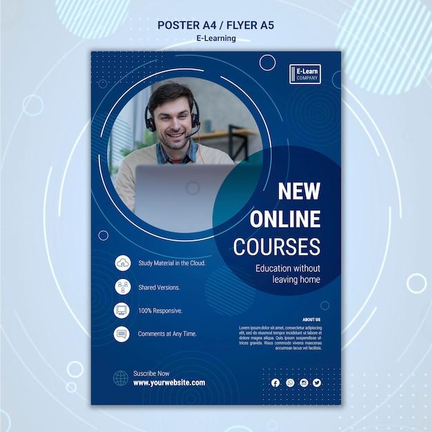 전자 학습 개념 포스터 템플릿 프리미엄 PSD 파일