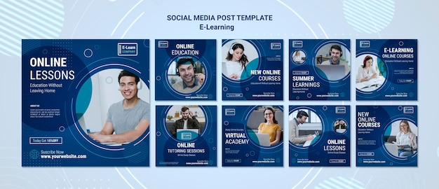 E-learning concept social media post template Premium Psd