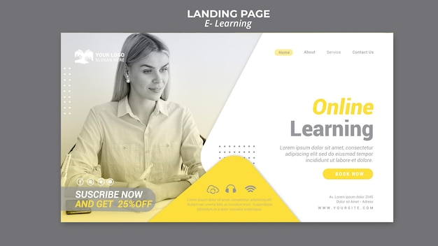 E learning landing page Psd Gratuite