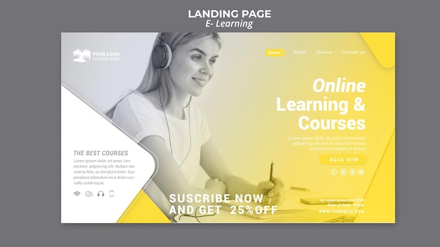 E learning landing page Free Psd