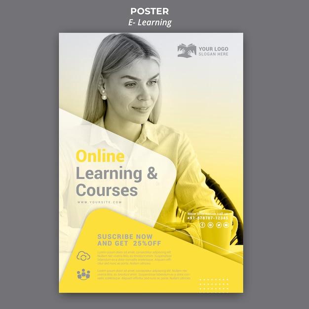 전자 학습 포스터 템플릿 무료 PSD 파일