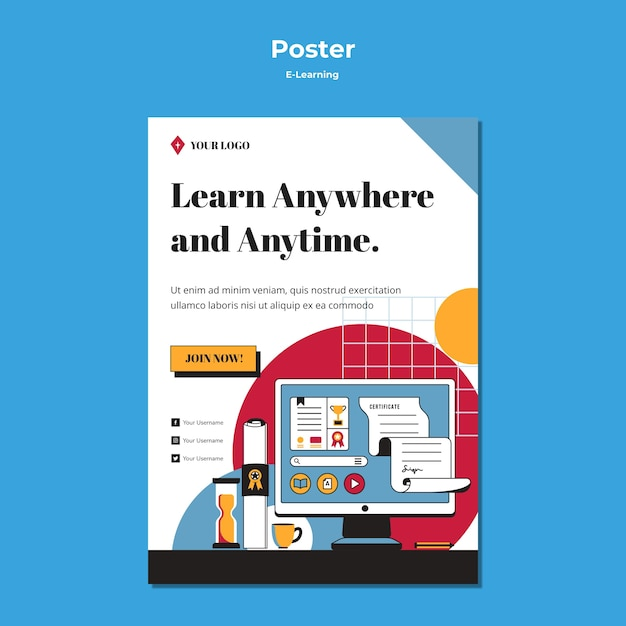 E-learning концепция постер стиль Бесплатные Psd