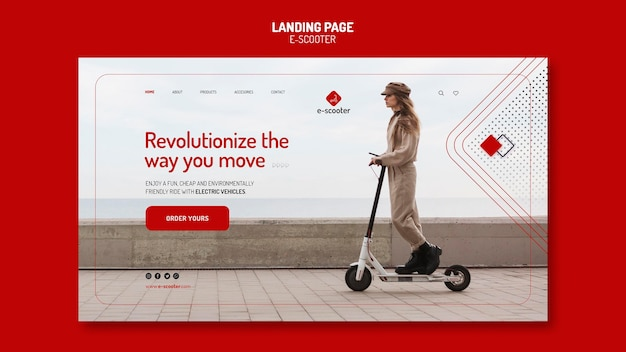 E scooter landing page Premium Psd