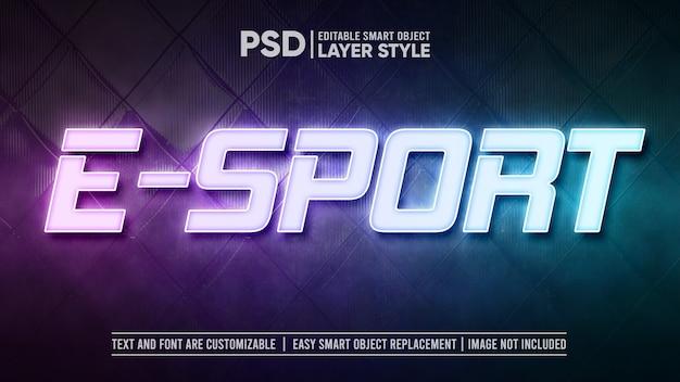 Eスポーツledライトランプテキスト効果テンプレート Premium Psd