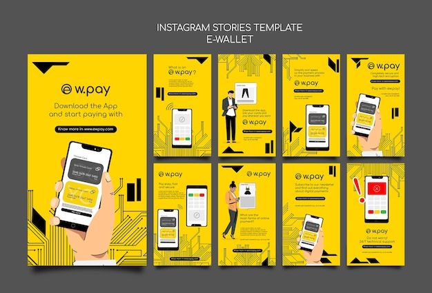 E-wallet instagram stories collection Free Psd