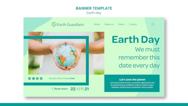 Earth day concept banner template Premium Psd