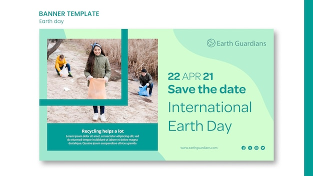 Earth day concept banner template Free Psd