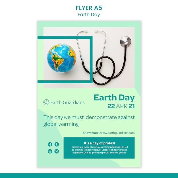 Earth day concept flyer template Free Psd