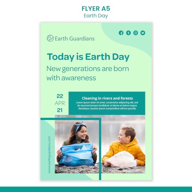 Modello di volantino di concetto di giornata della terra Psd Gratuite