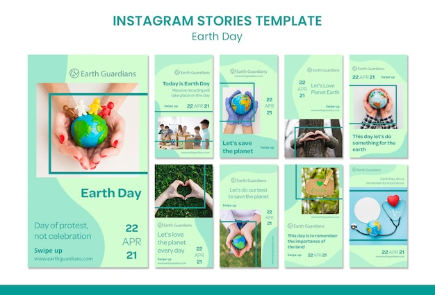 Earth day concept instagram stories template Premium Psd