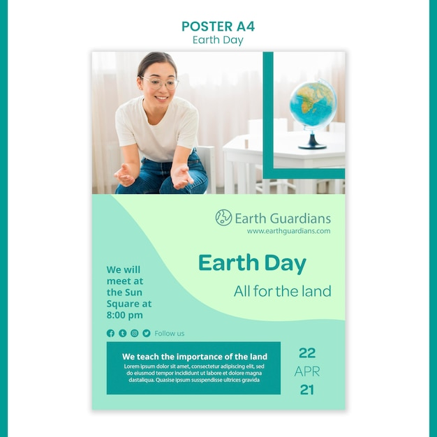 Earth day concept poster template Free Psd