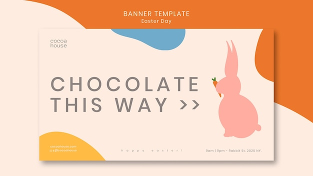 Easter banner with cute bunny Free Psd