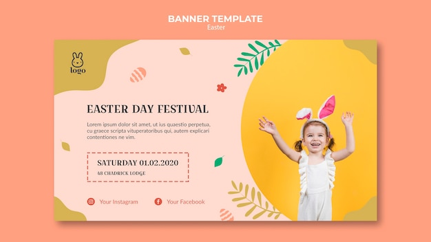 Easter day festival banner template Free Psd