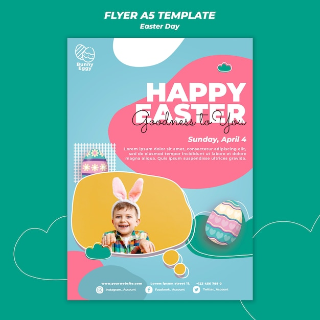 Easter day flyer template Free Psd