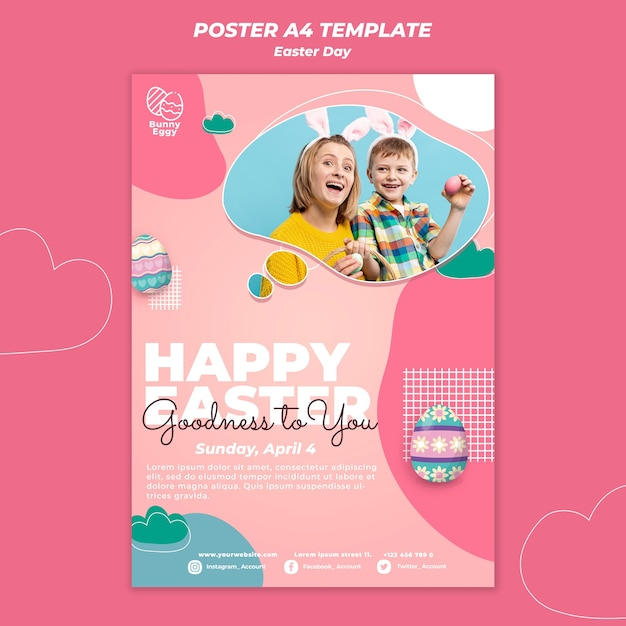 Easter day poster template Free Psd