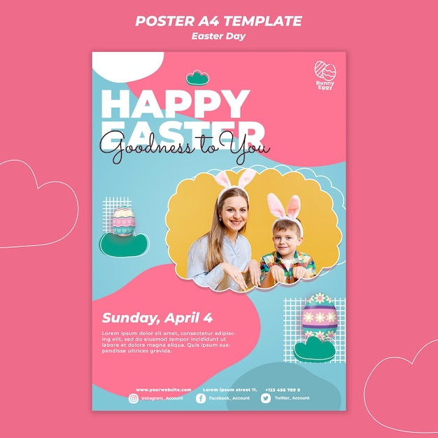 Easter day poster template Premium Psd