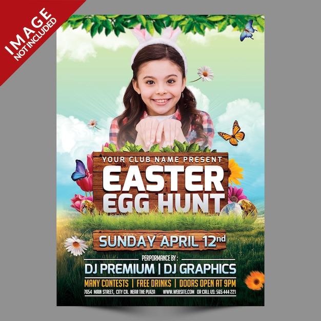 Easter egg hunt flyer template Premium Psd