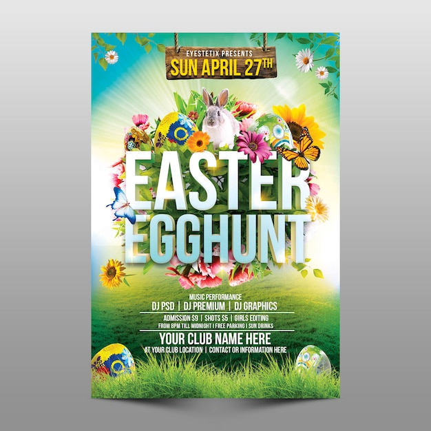 Easter egg hunt Premium Psd