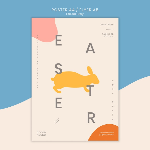 Easter flyer template with bunny Free Psd