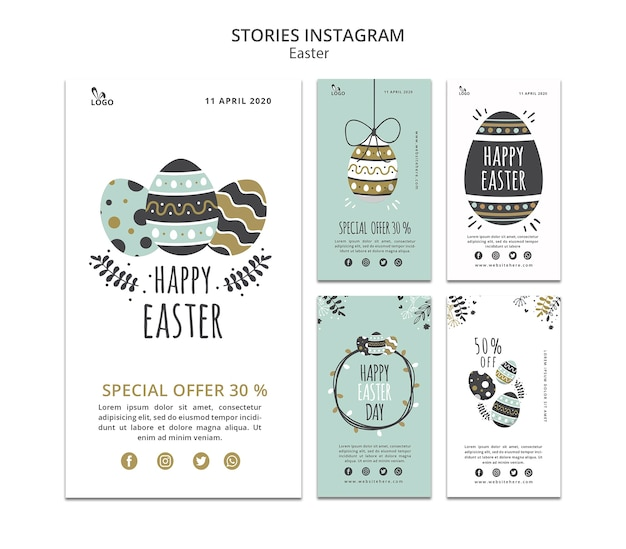 Easter instagram stories template Free Psd