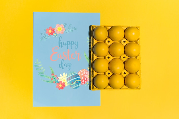 Easter mockup flat lay for greeting card Free Psd