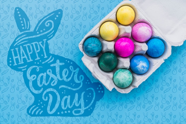 Easter mockup with colorful eggs Free Psd